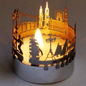 Hamburg Skyline Souvenir Kerze Geschenk mit Postkarte